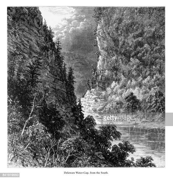 Delaware River Water Gap from the South, Pennsylvania, United States, American Victorian Engraving, 1872