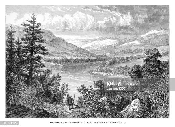 Delaware River Water Gap Looking South from Shawnee, Pennsylvania, United States, American Victorian Engraving, 1872