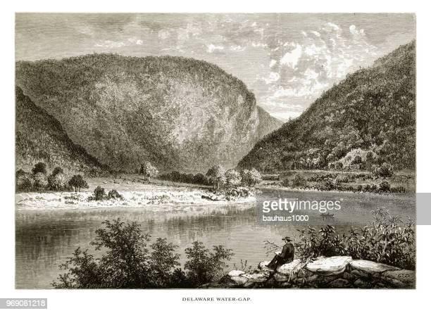 Delaware River Water Gap, Pennsylvania, United States, American Victorian Engraving, 1872