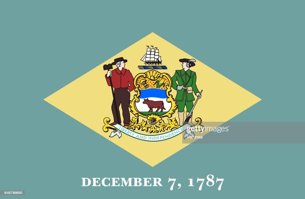 Delaware State flat flag : stock illustration