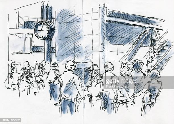 Retard au départ personnes en attente à l'aéroport d'encre dessin et aquarelle