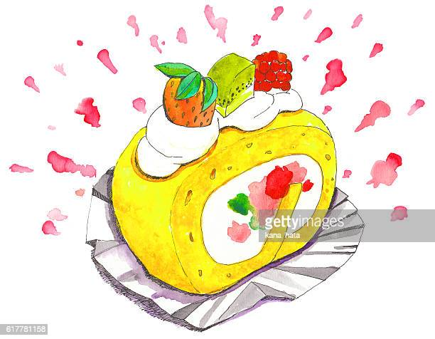 delicious sweets swiss roll - cake stock illustrations