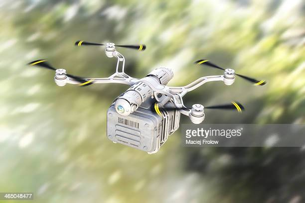 Delivery drone flying at high speed