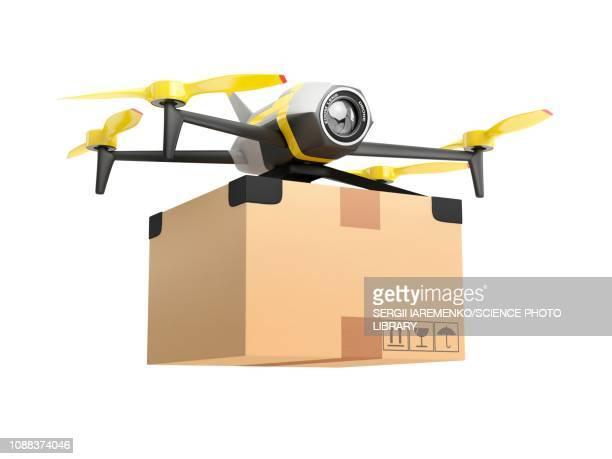ilustraciones, imágenes clip art, dibujos animados e iconos de stock de delivery drone, illustration - drone