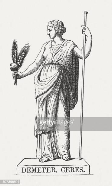 bildbanksillustrationer, clip art samt tecknat material och ikoner med demeter, greek goddess, wood engraving, published in 1878 - grekisk gudinna