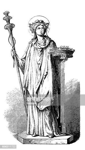bildbanksillustrationer, clip art samt tecknat material och ikoner med demeter,ceres ,greek goddess - grekisk gudinna