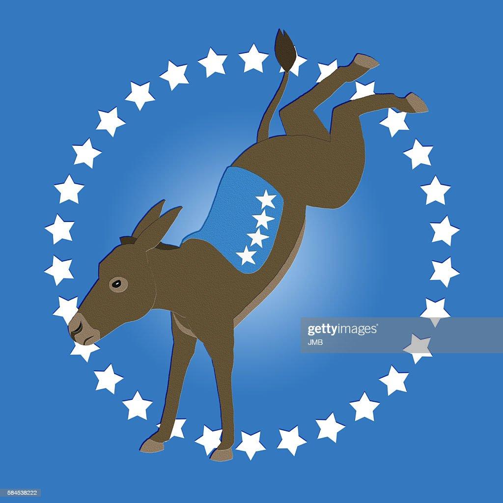 Democrat Donkey Blue, Too : stock illustration