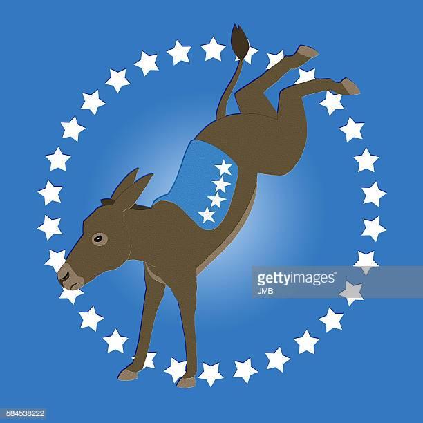 illustrazioni stock, clip art, cartoni animati e icone di tendenza di democrat donkey blue, too - us democratic party 2016 presidential candidate