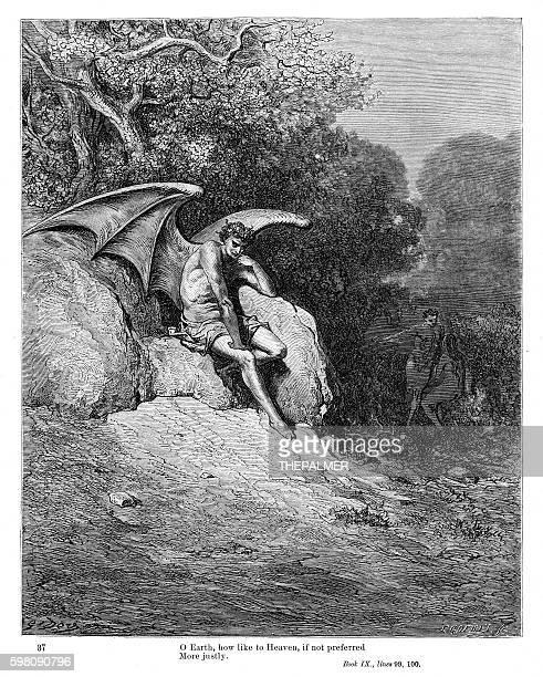ilustraciones, imágenes clip art, dibujos animados e iconos de stock de demon milton's paradise 1885 - los siete pecados capitales