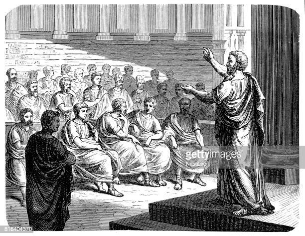 stockillustraties, clipart, cartoons en iconen met demosthenes (384-322 v.chr.) - classical greek style