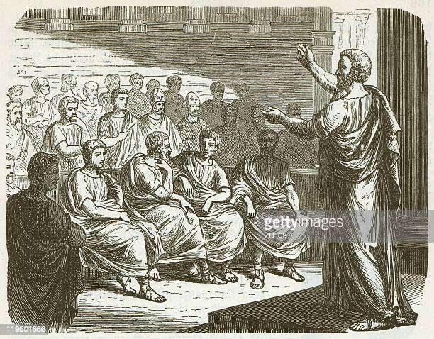 stockillustraties, clipart, cartoons en iconen met demosthenes (384 bc-322 bc), wood engraving, published in 1882 - classical greek style