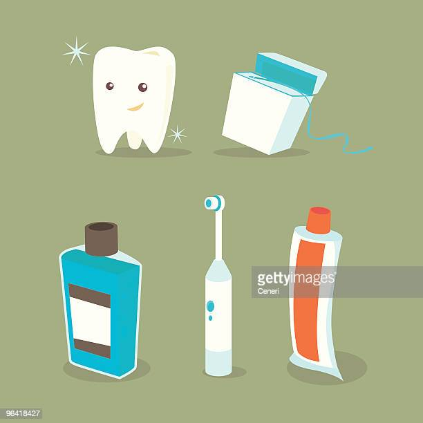 dental icons - dental floss stock illustrations
