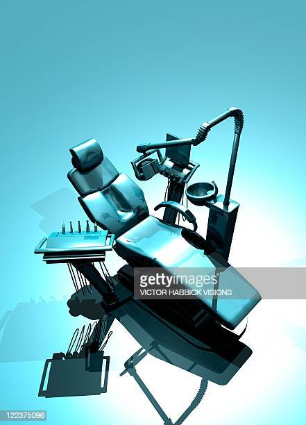 dentist's chair, artwork - dental drill stock illustrations
