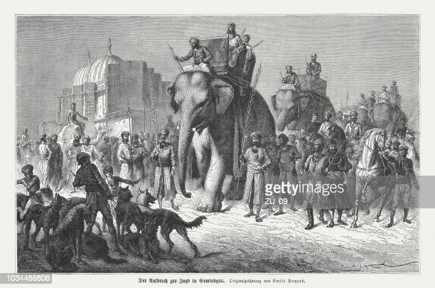 departure for the hunt with elephants in gobindgarh, punjab, india - british empire stock illustrations