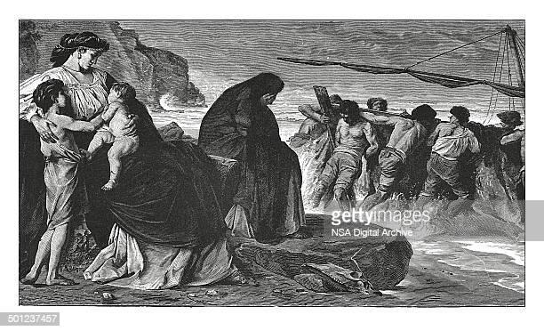 Departure of Medea (antique engraving)