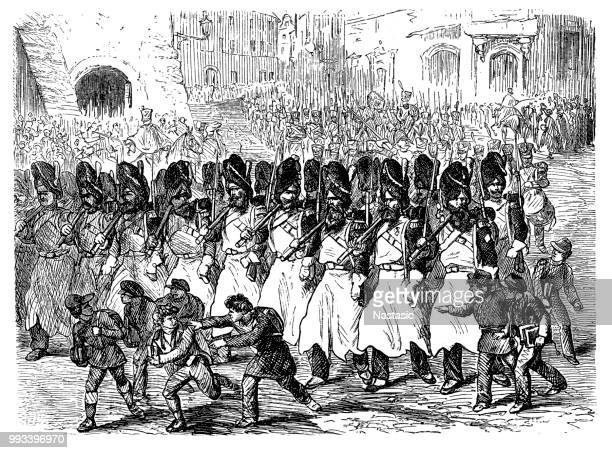 departure of sappers ,french army - musketeer stock illustrations, clip art, cartoons, & icons