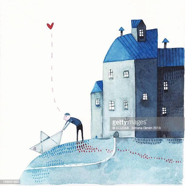 departure, with a paper boat - simona dimitri stock-grafiken, -clipart, -cartoons und -symbole