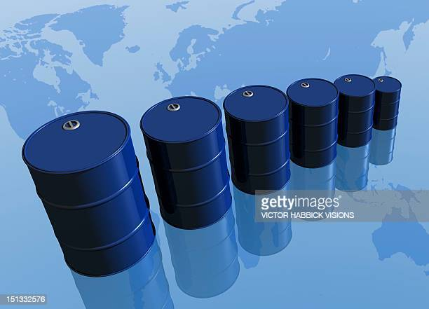 dependence on oil, conceptual artwork - drum container stock illustrations