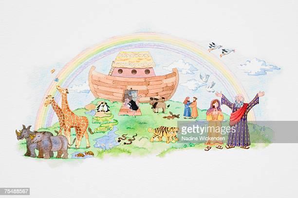 depiction of noah's ark after the flood, rainbow, animals leaving the ark - ノアの方舟点のイラスト素材/クリップアート素材/マンガ素材/アイコン素材