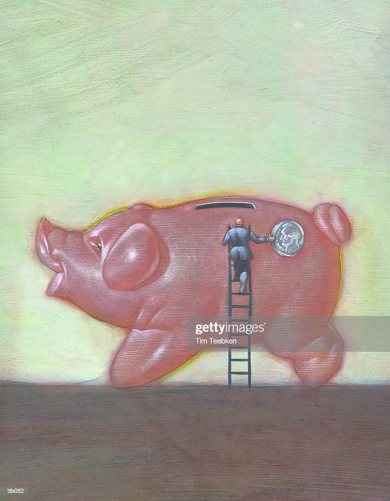 Depositing Coin in Piggy Bank : Stockillustraties