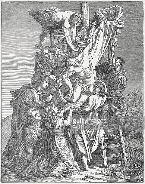 deposition from the cross, wood engraving, published c. 1880 - good friday stock illustrations