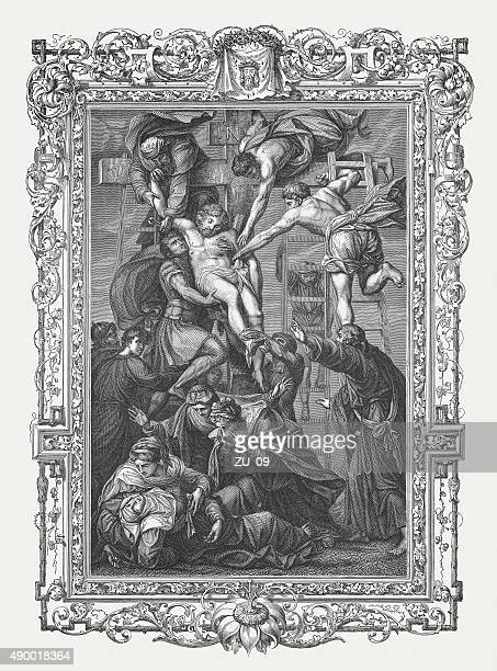 deposition of christ, painted by daniele da volterra, published 1878 - good friday stock illustrations