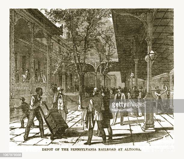 Depot of the Pennsylvania Railroad at Altoona Victorian Engraving, 1879