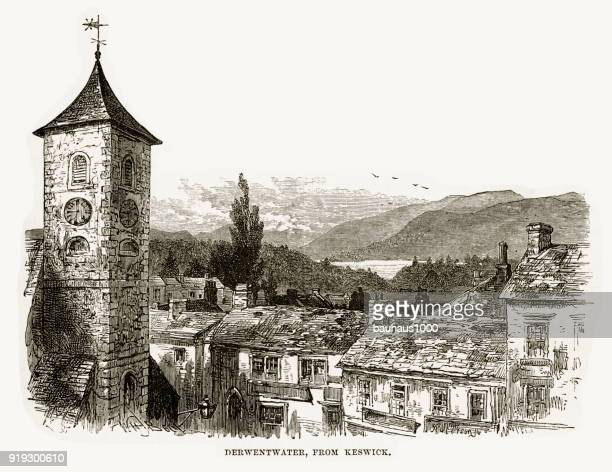 Derwent water from Keswick, England Victorian Engraving, 1840