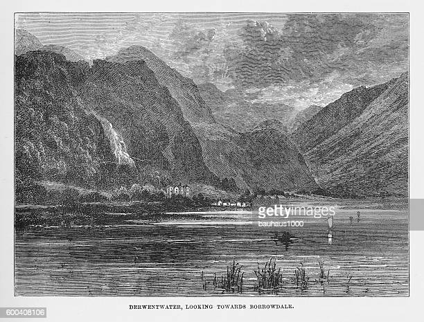Derwentwater and Borrowdale, Keswick, England Victorian Engraving, 1840