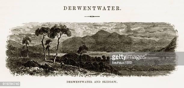 Derwentwater and Skiddaw, Keswick, England Victorian Engraving, 1840
