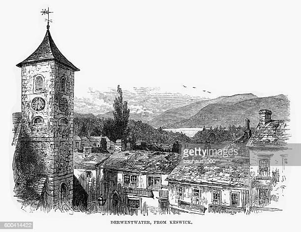derwentwater from keswick, england victorian engraving, 1840 - keswick stock illustrations