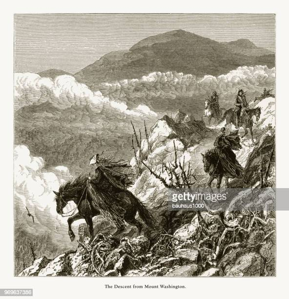 Descent from Mount Washington, White Mountains, New Hampshire, United States, American Victorian Engraving, 1872