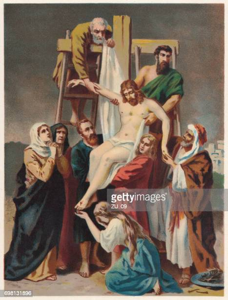 descent from the cross, chromolithograph, published in 1886 - crucifix stock illustrations