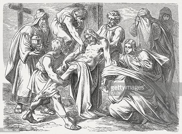 descent from the cross of jesus, wood engraving, published 1877 - holy week stock illustrations, clip art, cartoons, & icons