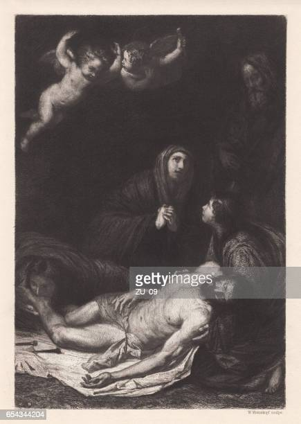 descent from the cross, painted by ribera, naples, published 1884 - good friday stock illustrations