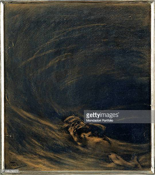 Italy, Lombardy, Milan, Private collection. Whole artwork. Water sea vortex; whirlpool current human figure currents drowned shipwrecked man...