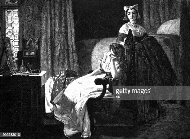 デズデモーナのシェークスピアーの「オセロ、机に座って、考えて - 1890~1899年点のイラスト素材/クリップアート素材/マンガ素材/アイコン素材