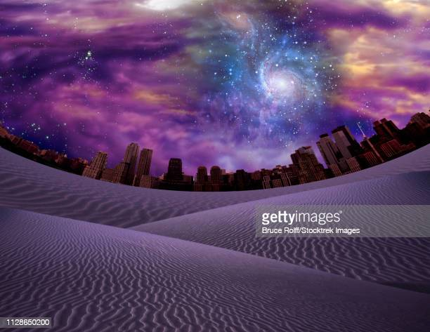 ilustraciones, imágenes clip art, dibujos animados e iconos de stock de desert city. purple sky and galaxy - galaxia espiral