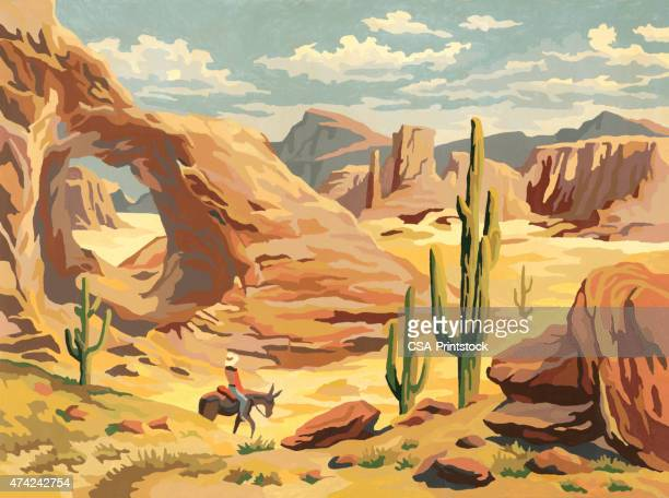 desert landscape with cowboy - saguaro cactus stock illustrations
