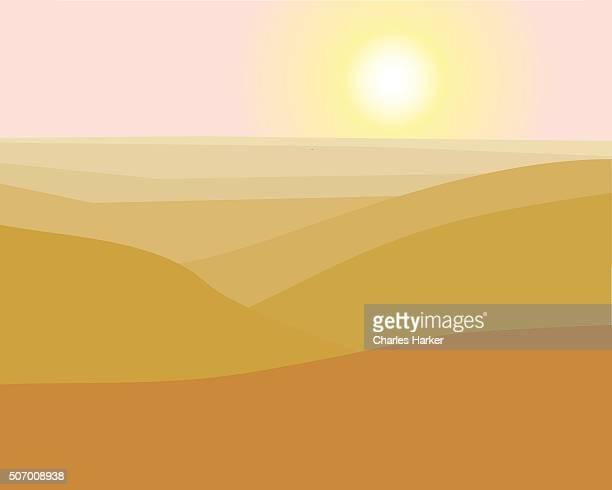 Desert Mountains Landscape Illustration