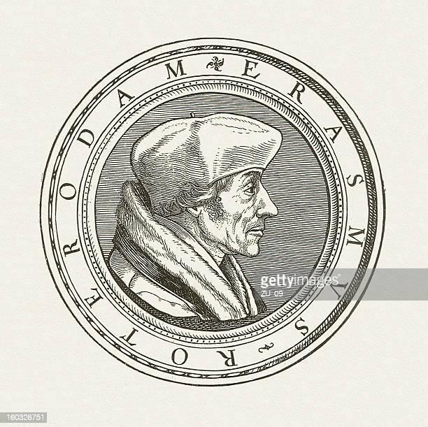 Desiderius Erasmus (1466-1536), wood engraving, published in 1881