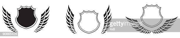 design element - wings - animal limb stock illustrations, clip art, cartoons, & icons
