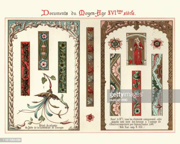 design elements, decorations, borders, frames, floral pattern 16th century style - renaissance stock illustrations