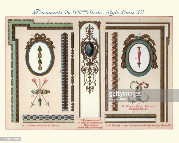 design elements decorative art, louis xvi style, 18th century - filigree stock illustrations