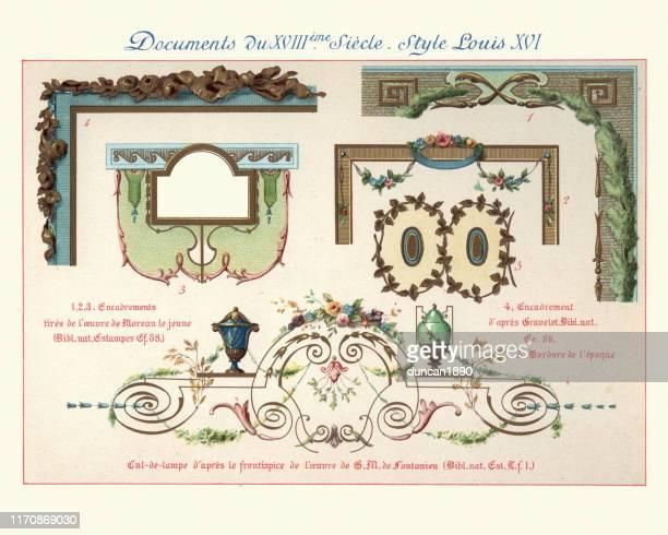 illustrations, cliparts, dessins animés et icônes de design elements decorative art, louis xvi style, 18th century - louis 16