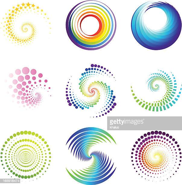 design elements | twirl & circle - spinning stock illustrations