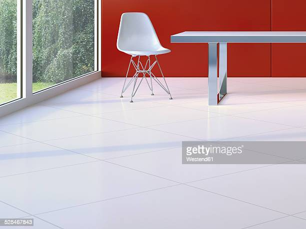 Design furniture on white floor tiles, 3D Rendering