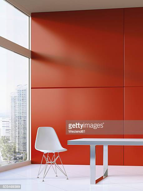 Design furniture on white floor tiles in front of red wall, 3D Rendering