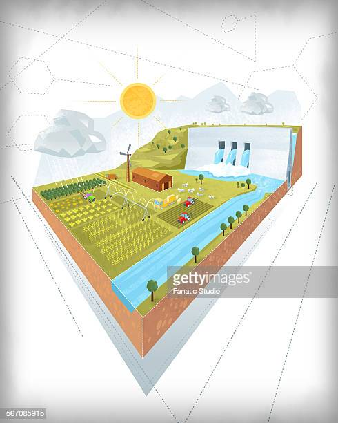 3d design of dam and irrigation project on white background - rainy season stock illustrations, clip art, cartoons, & icons