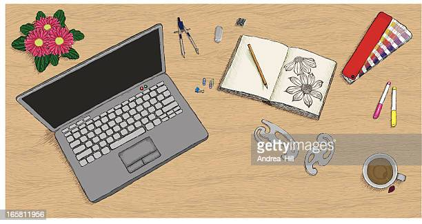 Designer's Desk in Hand-drawn Style